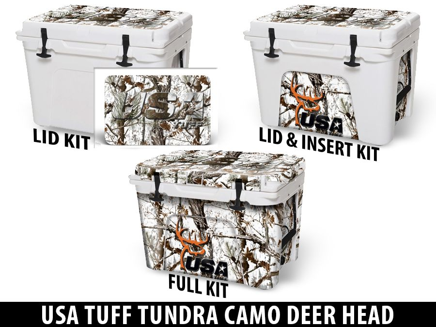 USATuff Cooler Accessories Ice Chest Graphic Sticker Decal Kits - Tundra Camo Deer Head