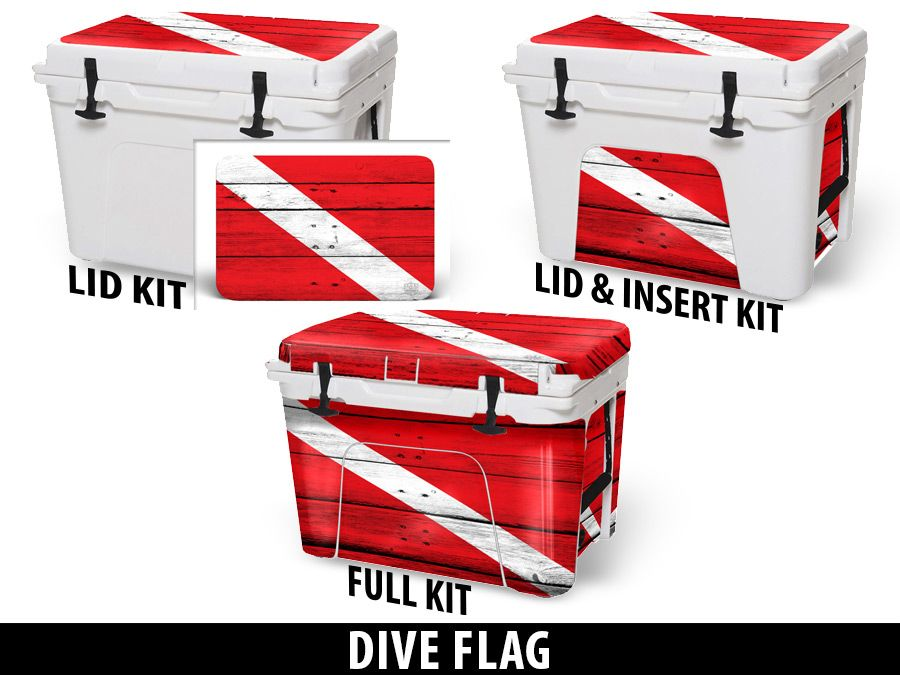 USATuff Cooler Accessories Ice Chest Graphic Sticker Decal Kits - Dive Flag