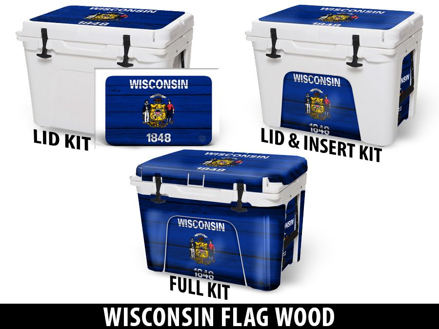 USATuff Cooler Accessories Ice Chest Graphic Sticker Decal Kits - Wisconsin