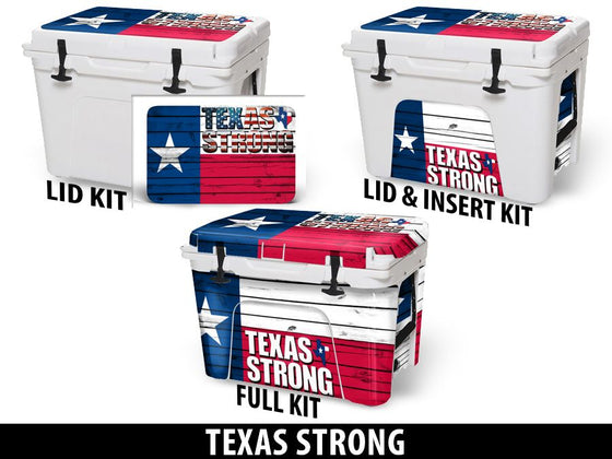 USATuff Cooler Accessories Ice Chest Graphic Sticker Decal Kits - Texas Strong