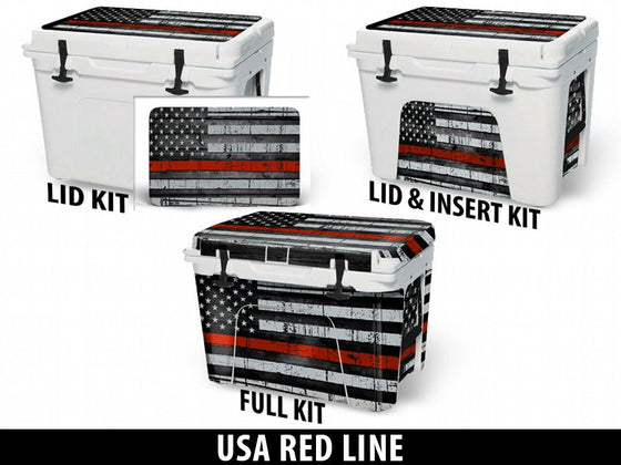 USATuff Cooler Accessories Ice Chest Graphic Sticker Decal Kits - USA Red Line