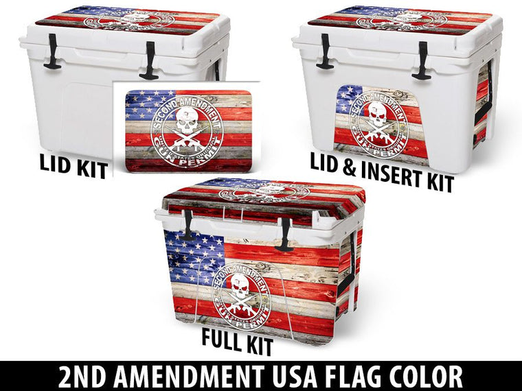 USATuff Cooler Accessories Ice Chest Graphic Sticker Decal Kits - 2nd Amendment USA Flag Color