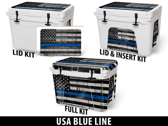 USATuff Cooler Accessories Ice Chest Graphic Sticker Decal Kits - USA Blue Line