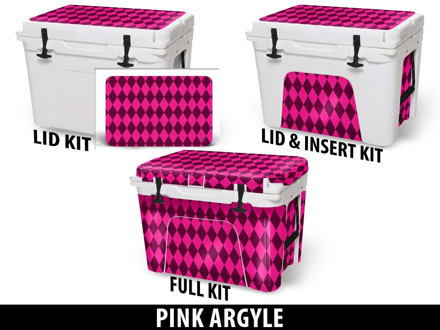 USATuff Cooler Accessories Ice Chest Graphic Sticker Decal Kits - Pink Argyle