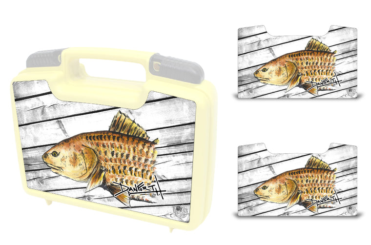 USATuff Wrap For Cliff Outdoors Bugger Beast and Bugger Junior Fly Boxes Graphic Sticker Decal Kits Redfish by David Danforth