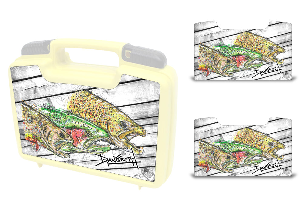 USATuff Wrap For Cliff Outdoors Bugger Beast and Bugger Junior Fly Boxes Graphic Sticker Decal Kits Triple Trout by David Danforth