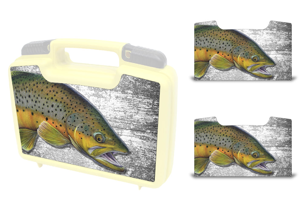 USATuff Wrap For Cliff Outdoors Bugger Beast and Bugger Junior Fly Boxes Graphic Sticker Decal Kits Brown Trout by Ty Hallock
