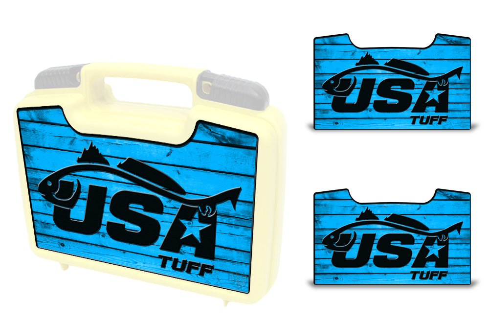 USATuff Wrap For Cliff Outdoors Bugger Beast and Bugger Junior Fly Boxes Graphic Sticker Decal Kits Redfish Blue