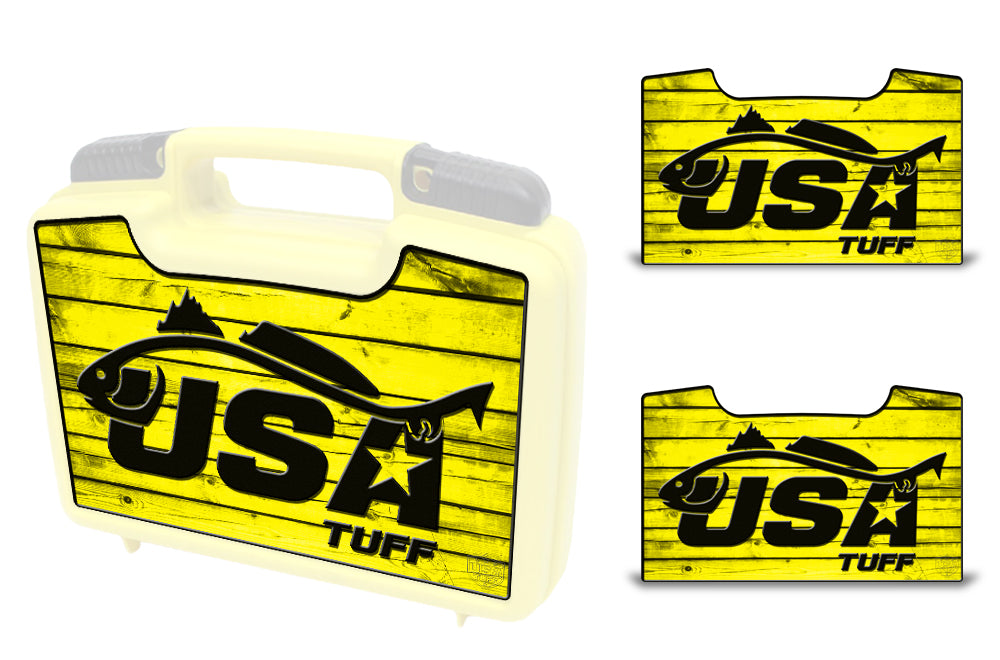 USATuff Wrap For Cliff Outdoors Bugger Beast and Bugger Junior Fly Boxes Graphic Sticker Decal Kits Redfish Yellow