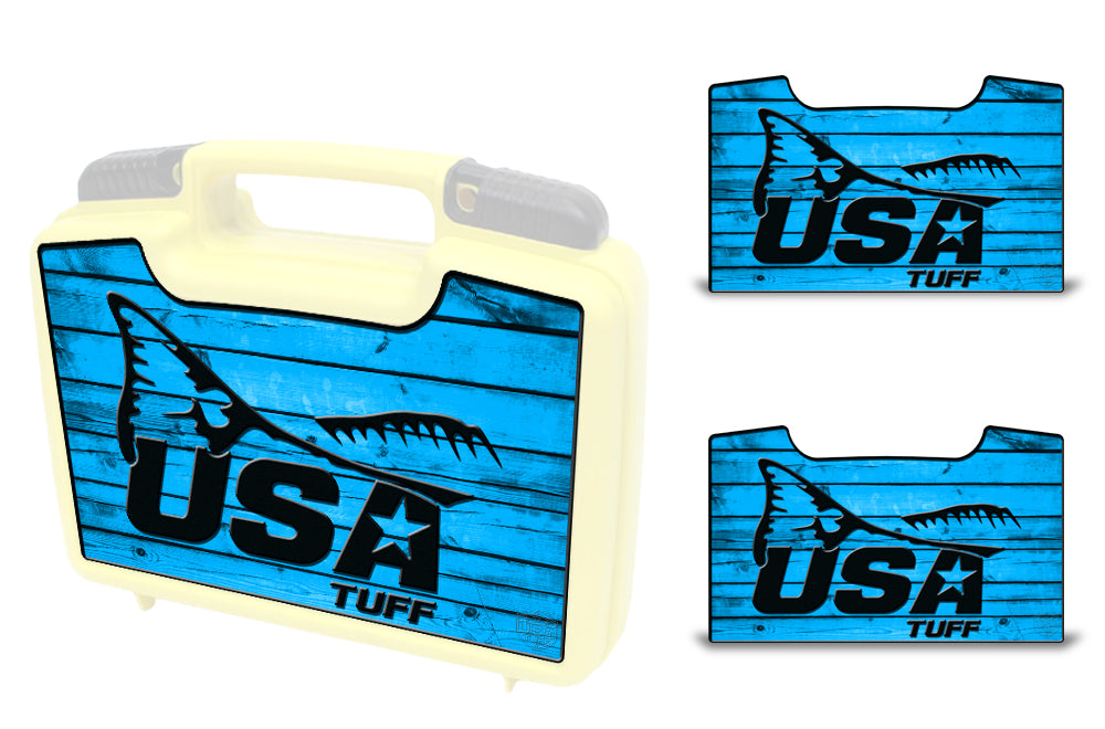 USATuff Wrap For Cliff Outdoors Bugger Beast and Bugger Junior Fly Boxes Graphic Sticker Decal Kits Redfish Tail Blue