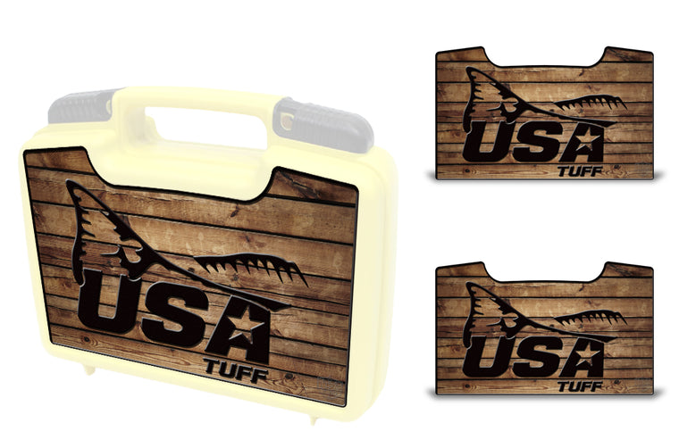 USATuff Wrap For Cliff Outdoors Bugger Beast and Bugger Junior Fly Boxes Graphic Sticker Decal Kits Redfish Tail Wood