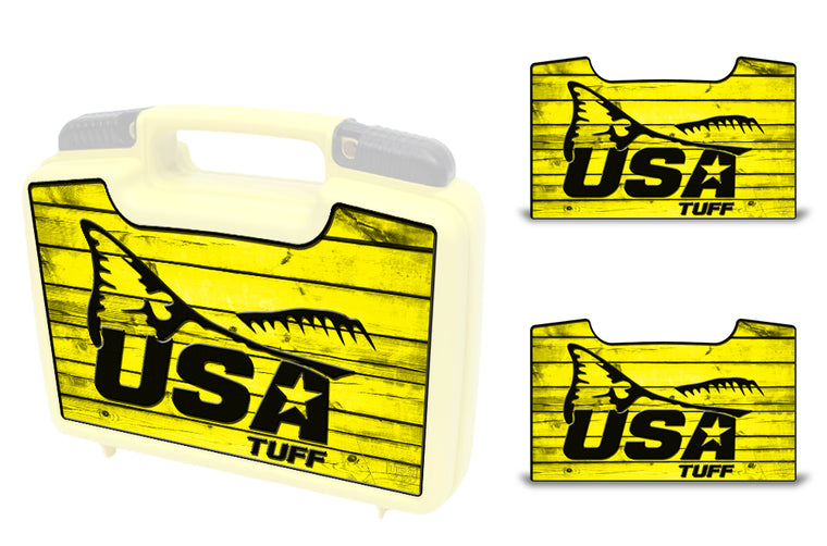 USATuff Wrap For Cliff Outdoors Bugger Beast and Bugger Junior Fly Boxes Graphic Sticker Decal Kits Redfish Tail Yellow