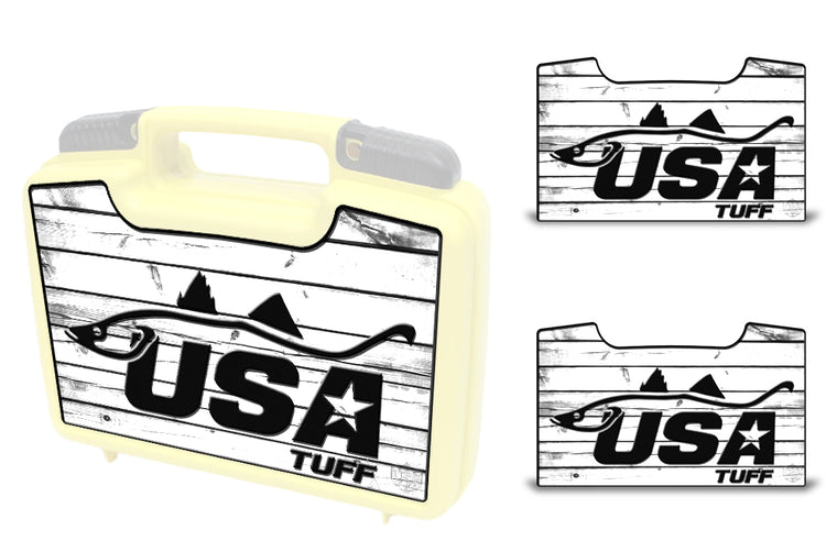 USATuff Wrap For Cliff Outdoors Bugger Beast and Bugger Junior Fly Boxes Graphic Sticker Decal Kits Snook White