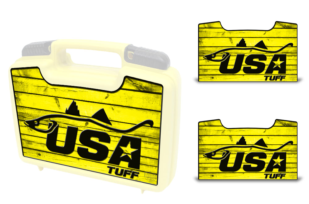 USATuff Wrap For Cliff Outdoors Bugger Beast and Bugger Junior Fly Boxes Graphic Sticker Decal Kits Snook Yellow