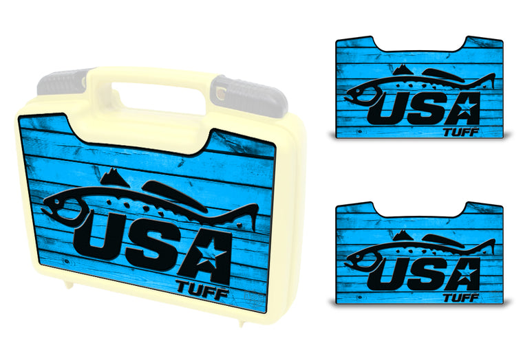 USATuff Wrap For Cliff Outdoors Bugger Beast and Bugger Junior Fly Boxes Graphic Sticker Decal Kits Trout Blue