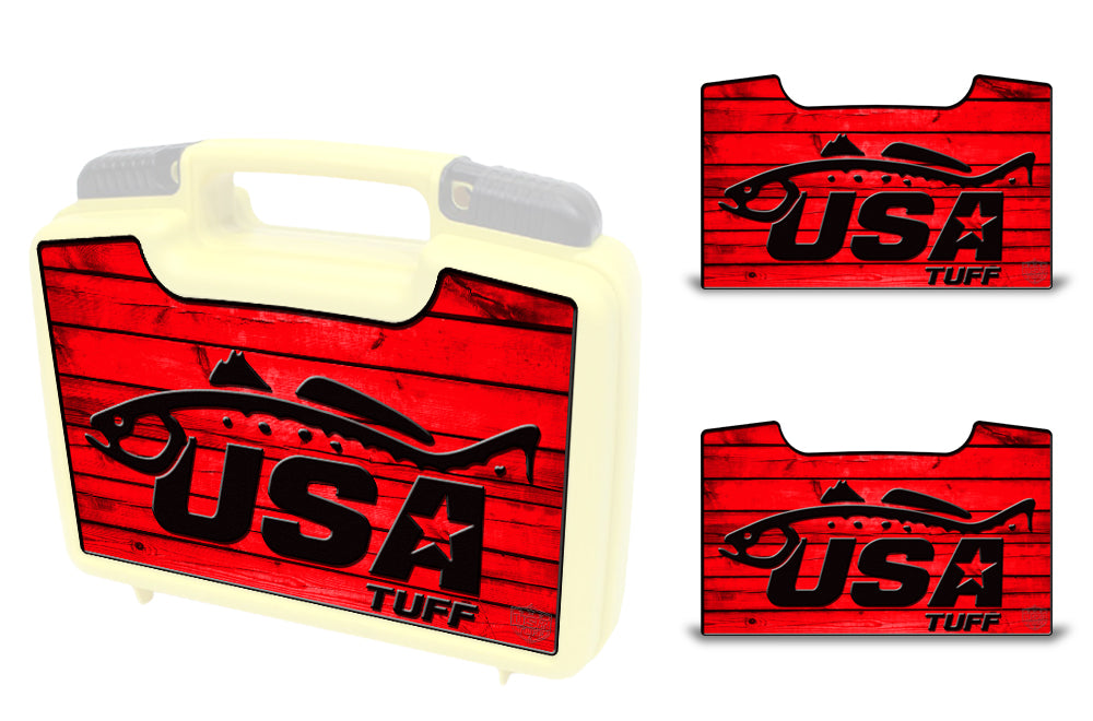 USATuff Wrap For Cliff Outdoors Bugger Beast and Bugger Junior Fly Boxes Graphic Sticker Decal Kits Trout Red