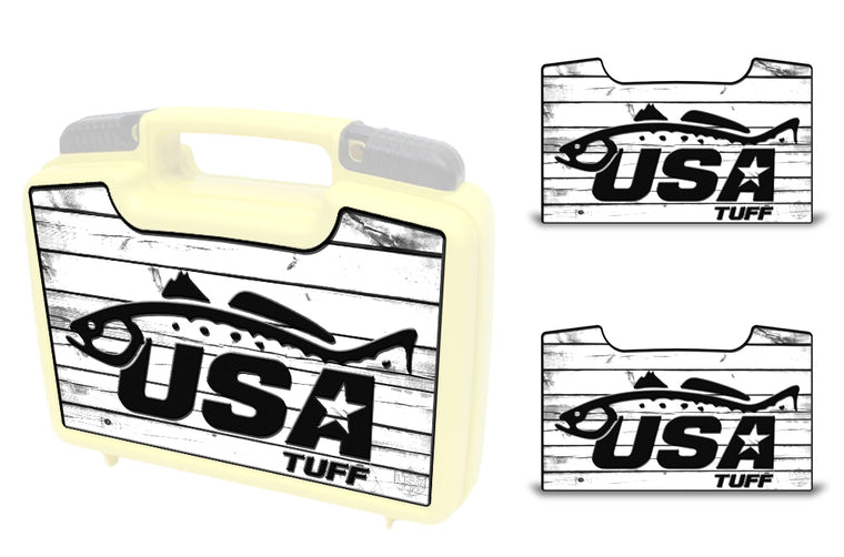 USATuff Wrap For Cliff Outdoors Bugger Beast and Bugger Junior Fly Boxes Graphic Sticker Decal Kits Trout White