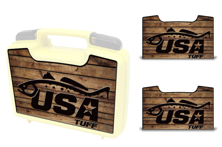 USATuff Wrap For Cliff Outdoors Bugger Beast and Bugger Junior Fly Boxes Graphic Sticker Decal Kits Trout Wood