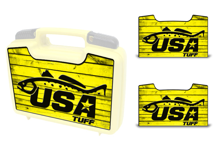 USATuff Wrap For Cliff Outdoors Bugger Beast and Bugger Junior Fly Boxes Graphic Sticker Decal Kits Trout Yellow