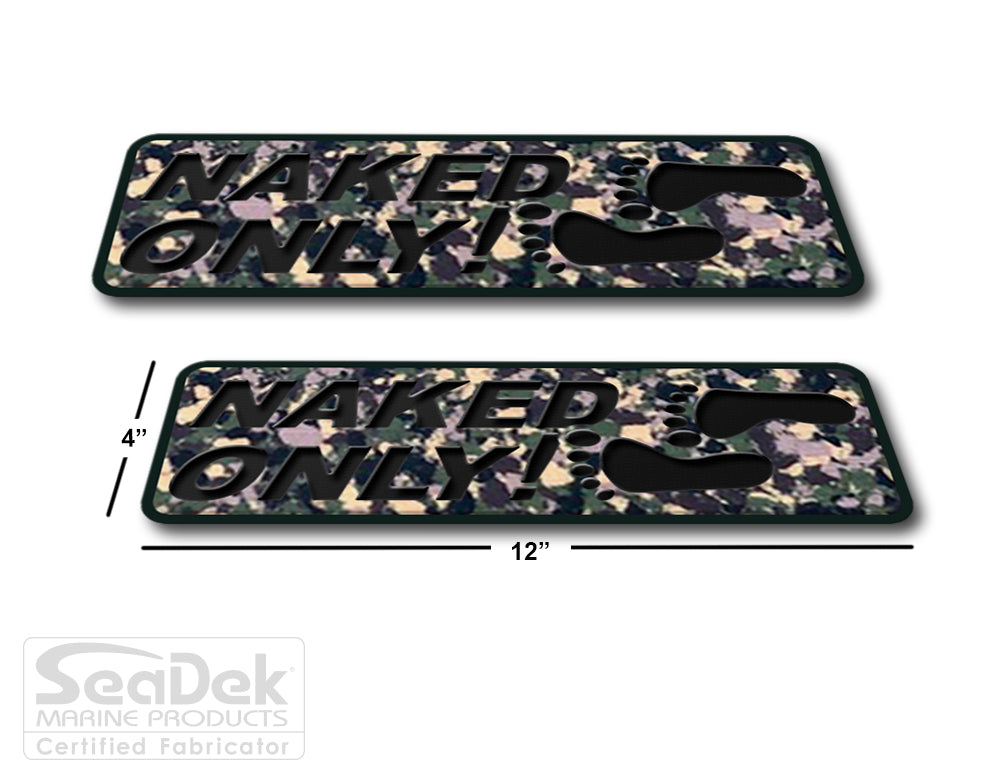 SeaDek Traction Step Pad | 2 Piece Set | 12x4 | ArmyCamo-Black - Naked Only Stacked