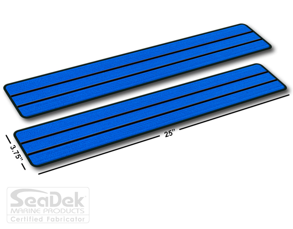SeaDek Traction Step Pad | 2 Piece Set | 25x3.75 | BiminiBlue-Black - Teak Design
