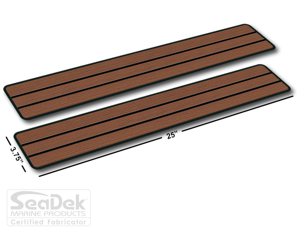 SeaDek Traction Step Pad | 2 Piece Set | 25x3.75 | Tan-Mocha - Teak Design