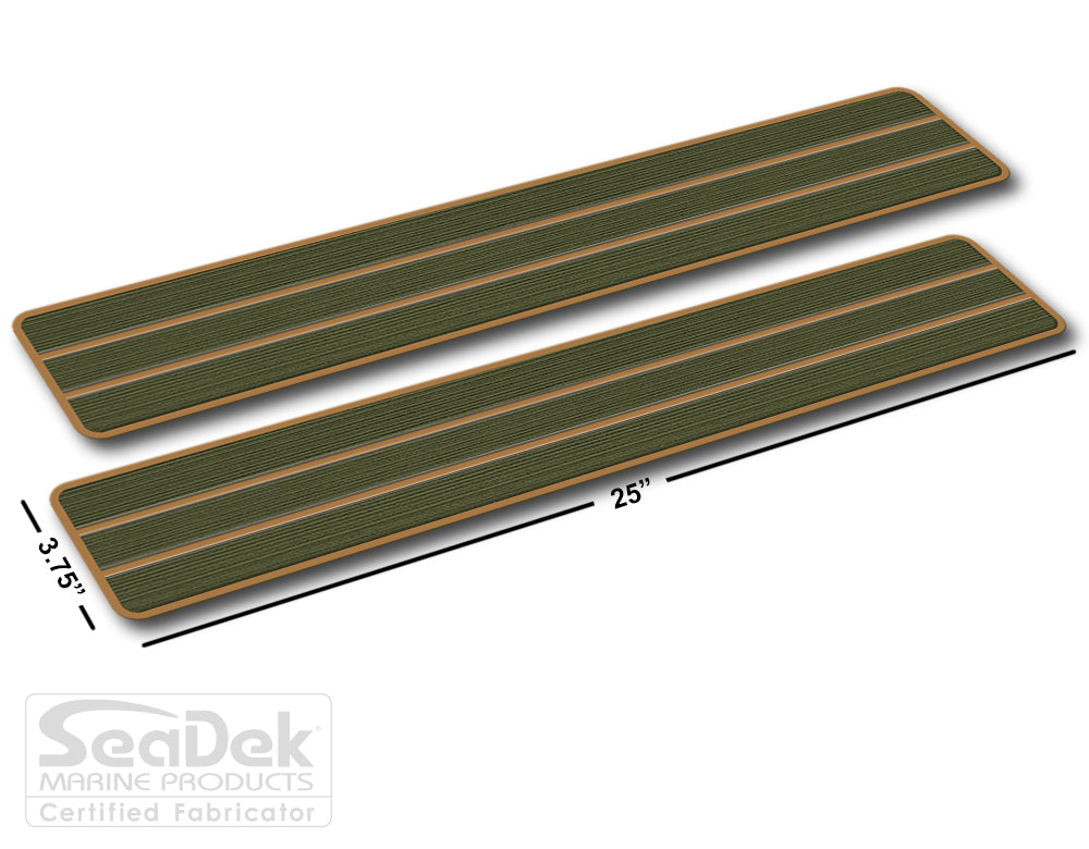 SeaDek Traction Step Pad | 2 Piece Set | 25x3.75 | OliveGreen-Mocha - Teak Design