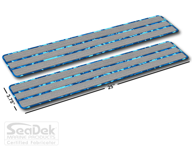 SeaDek Traction Step Pad | 2 Piece Set | 25x3.75 | StormGray-AquaCamo - Teak Design