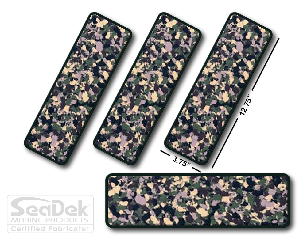 SeaDek Traction Step Pad | 4 Piece Set | 12.75X3.75 | ArmyCamo-Black - Blank Design