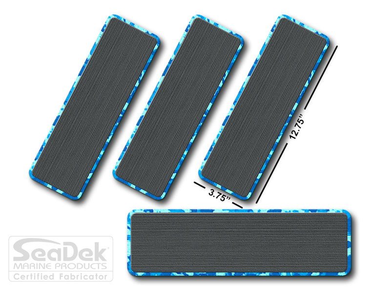 SeaDek Traction Step Pad | 4 Piece Set | 12.75X3.75 | DarkGray-AquaCamo - Blank Design