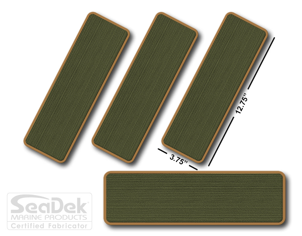 SeaDek Traction Step Pad | 4 Piece Set | 12.75X3.75 | OliveGreen-Mocha - Blank Design
