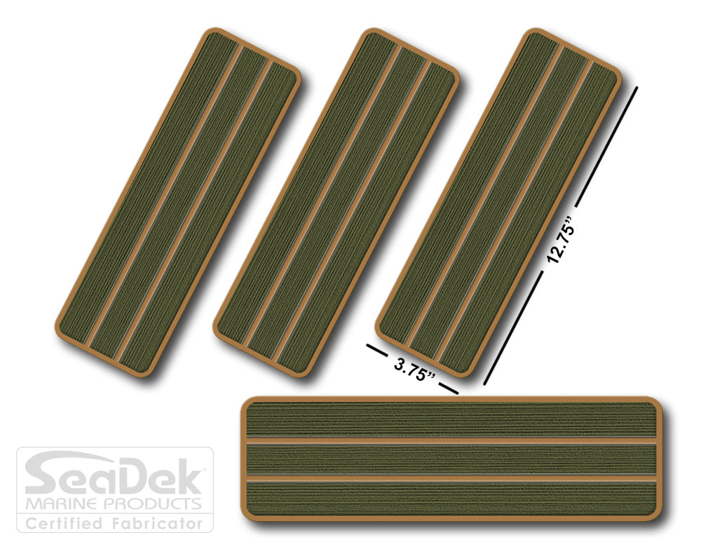 SeaDek Traction Step Pad | 4 Piece Set | 12.75x3.75 | OliveGreen-Mocha - Teak Design