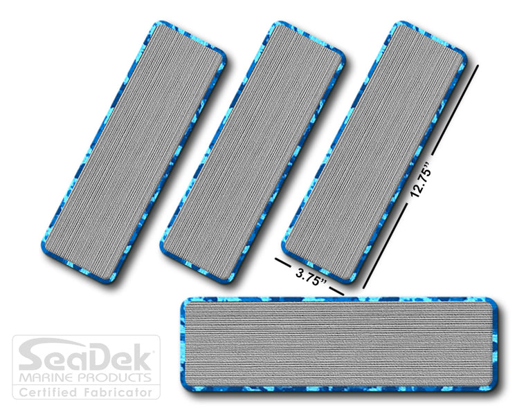 SeaDek Traction Step Pad | 4 Piece Set | 12.75X3.75 | StormGray-AquaCamo - Blank Design