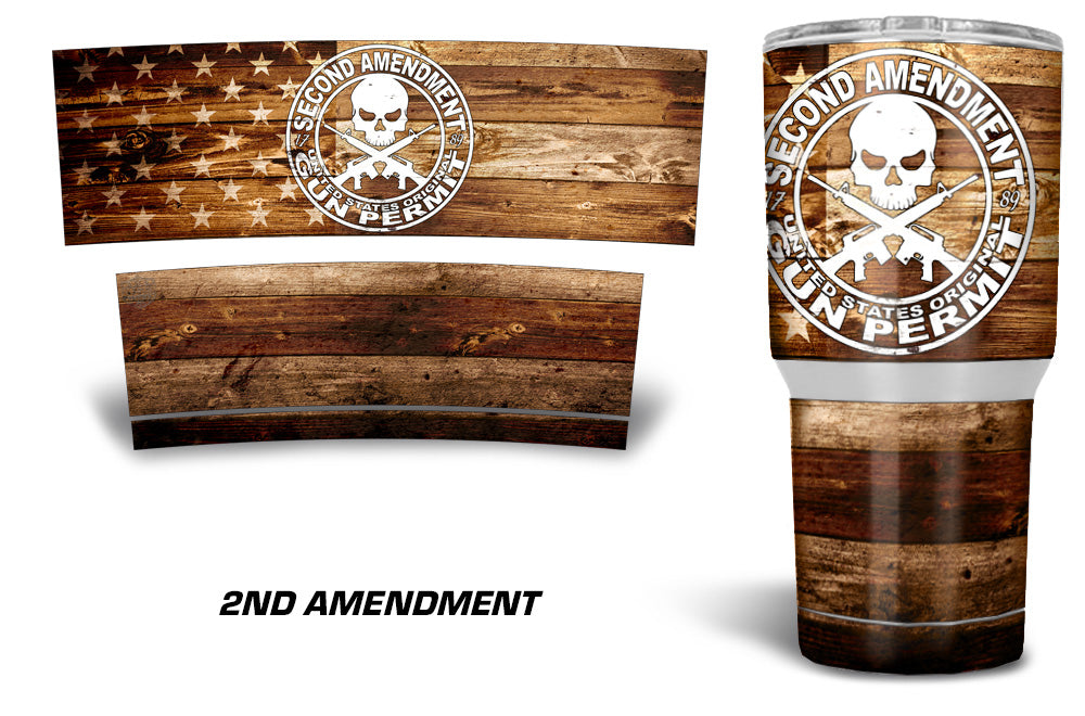USATuff Tumbler Cup Wrap Kit for RTIC YETI - 2nd Amendment Flag Color Wood
