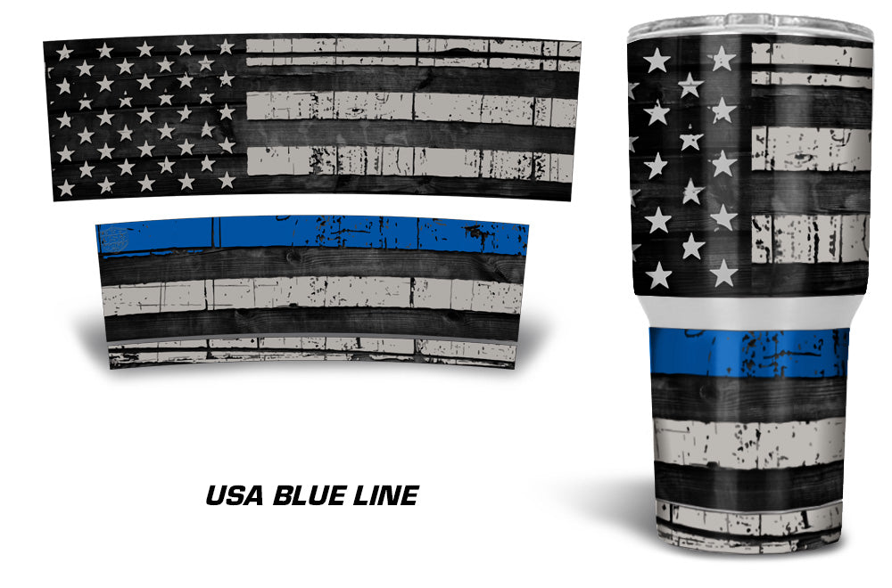 USATuff Tumbler Cup Wrap Kit for RTIC YETI - USA Blue Line Flag