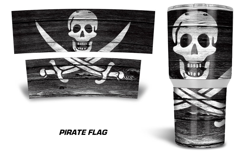 USATuff Tumbler Cup Wrap Kit for RTIC YETI - Pirate Skull