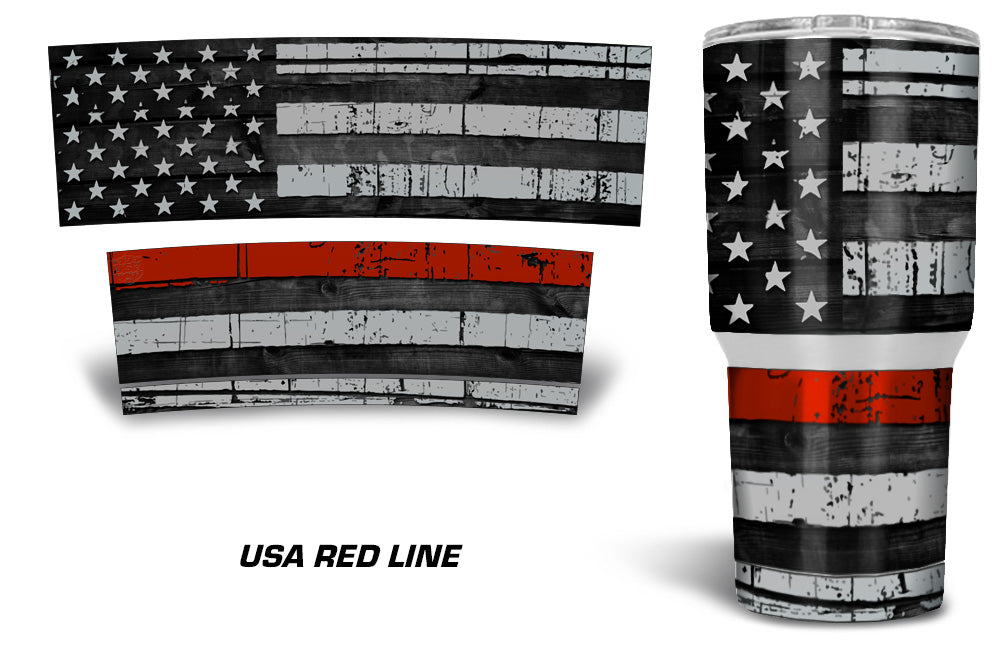 USATuff Tumbler Cup Wrap Kit for RTIC YETI - Red Line Flag