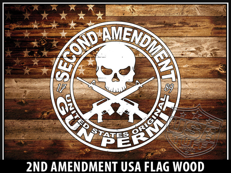 2nd Amendment USA Flag Wood