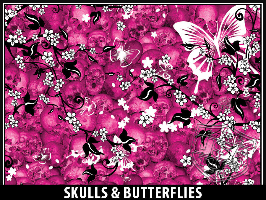 USA Tuff Tumbler Cup Wrap Kit for RTIC YETI Skulls & Butterflies