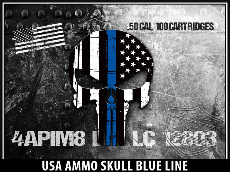 USA Tuff Tumbler Cup Wrap Kit for RTIC YETI USA Ammo Skull Blue Line