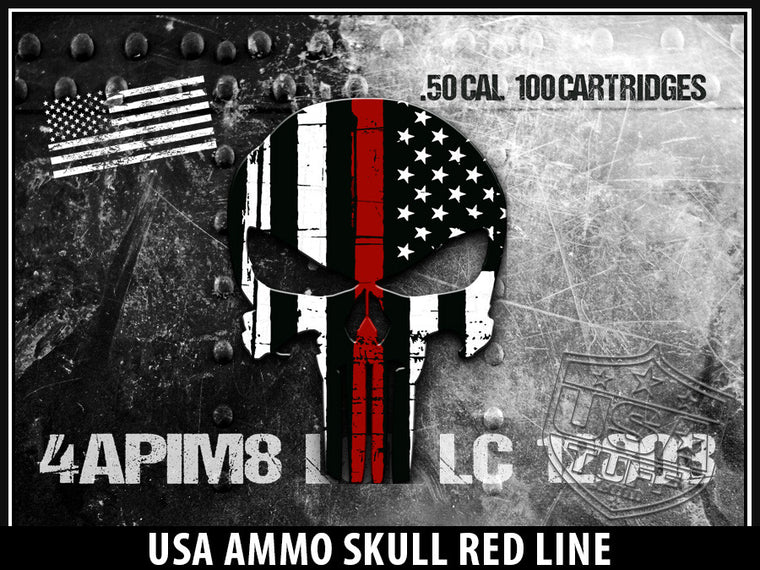 USA Tuff Tumbler Cup Wrap Kit for RTIC YETI USA Ammo Skull Red Line