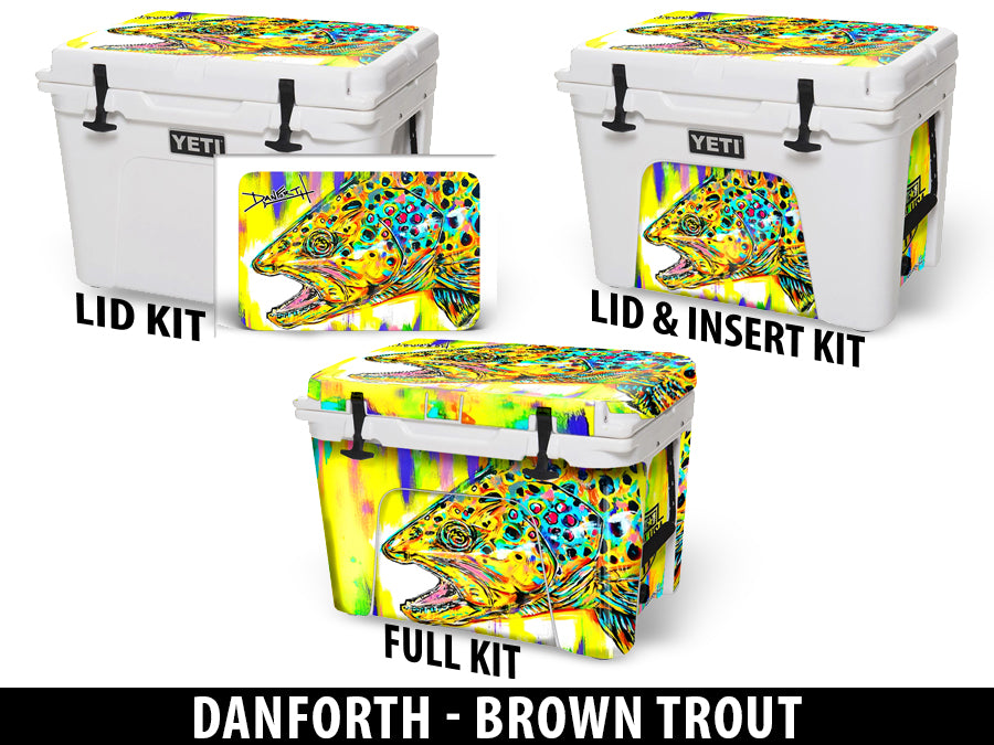 USATuff Cooler Accessories Ice Chest Graphic Sticker Decal Kits - Brown Trout by David Danforth