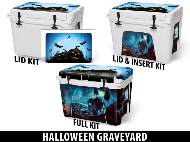 USATuff Cooler Accessories Ice Chest Graphic Sticker Decal Kits - Halloween Graveyard