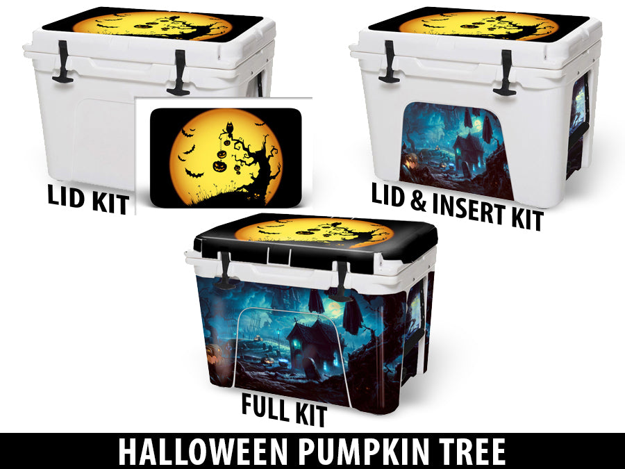 USATuff Cooler Accessories Ice Chest Graphic Sticker Decal Kits - Halloween Pumpkin Tree
