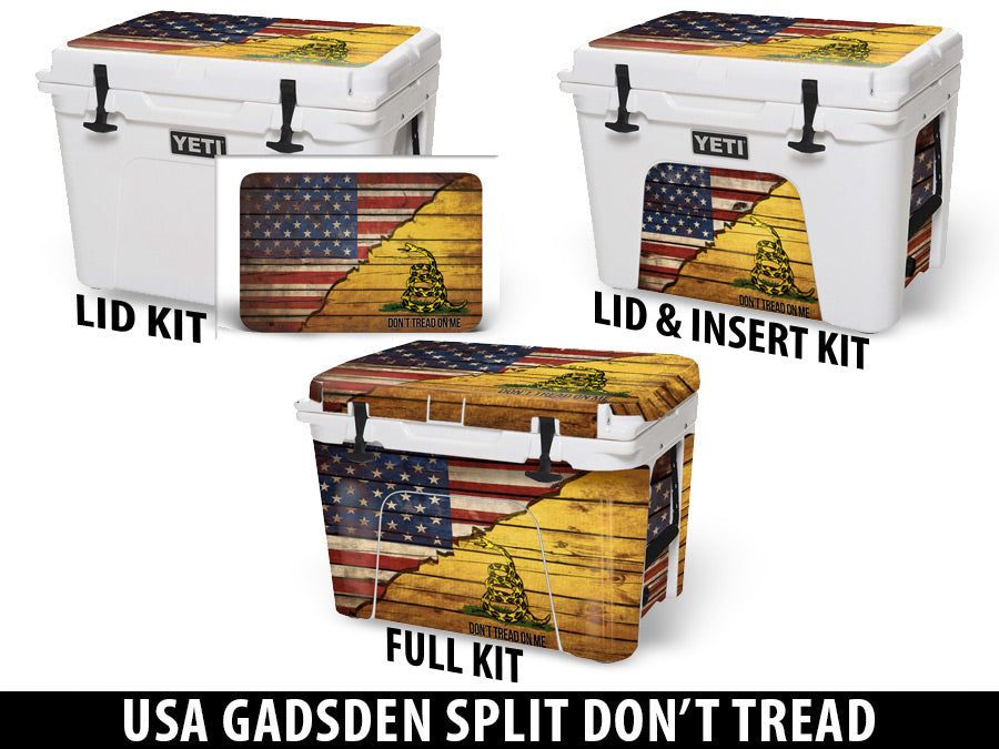 USATuff Cooler Accessories Ice Chest Graphic Sticker Decal Kits - USA Gadsden Split Don't Tread