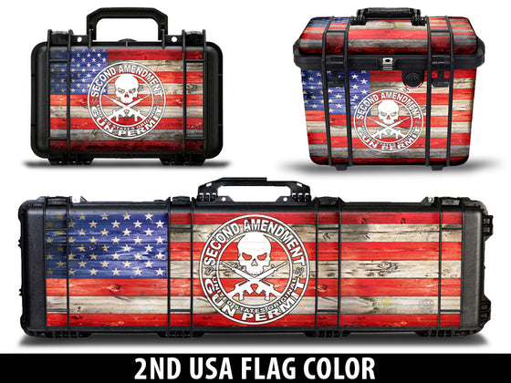USATuff Gun Case Wrap Kit for PELICAN -2nd Amendment Flag Color Design