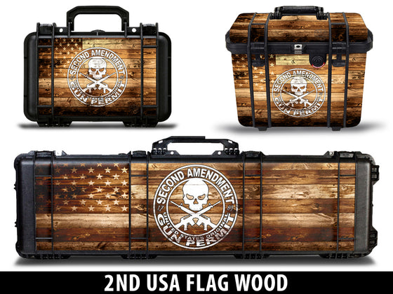 USATuff Gun Case Wrap Kit for PELICAN -2nd Amendment Flag Wood Design