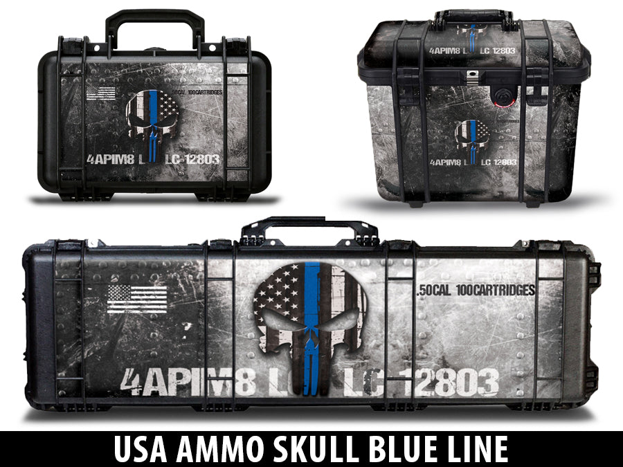 USATuff Pelican Gun Case Graphic Wrap Kit -  USA Ammo Skull Blue Line
