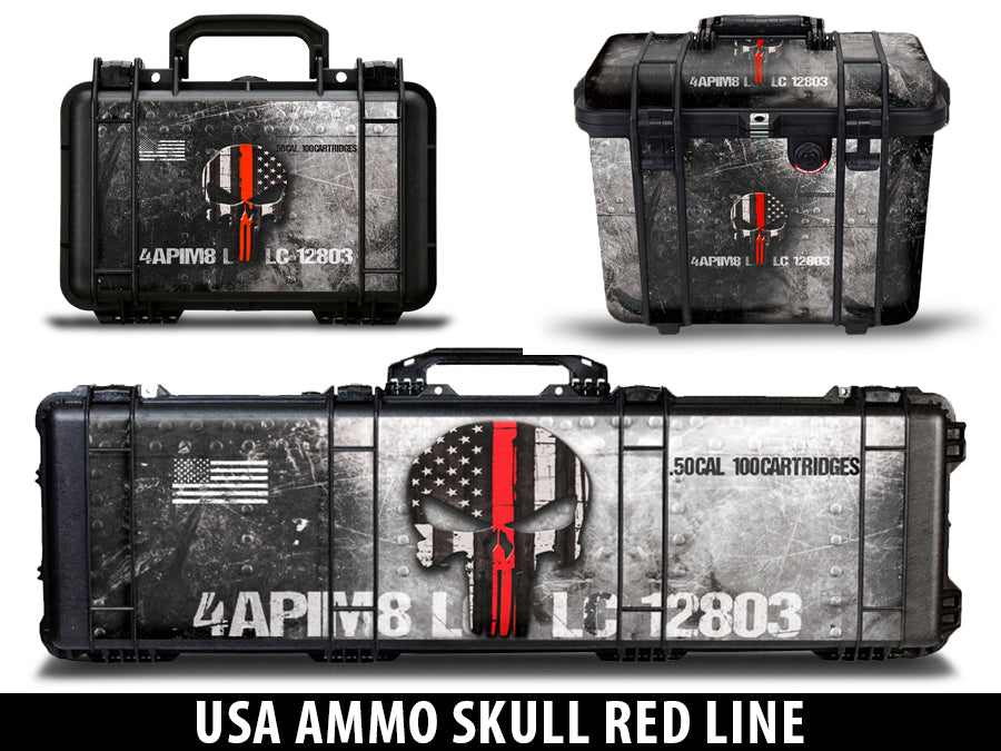 USATuff Pelican Gun Case Graphic Wrap Kit - USA Ammo Skull Red Line
