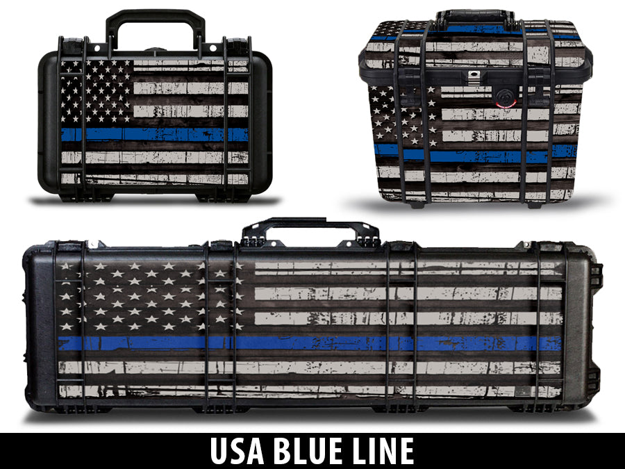 USATuff Pelican Gun Case Graphic Wrap Kit - USA Blue Line